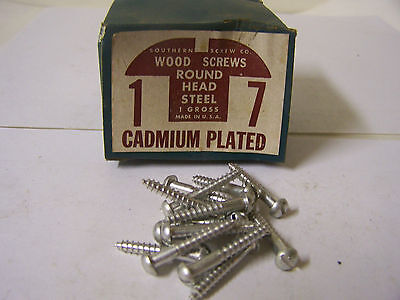 "#7 x 1"" Round Head Cadmium Plated Wood Screws Slotted Made in USA - Qty.144"