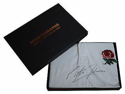 Martin Johnson SIGNED England Rugby Shirt Autograph Gift Box New BNWT PROOF COA