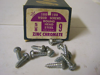 "#9 x 5/8"" Round Head Zinc Chromate Plated Wood Screws Slotted USA Made Qty. 100"