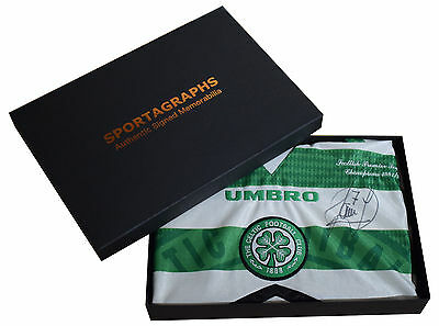 Paolo di Canio SIGNED Glasgow Celtic Shirt Autograph Gift Box Football AFTAL COA