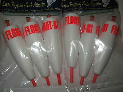 6 Quality 4 in. Foam Popping Corks Adjustable Float Bobbers Fishing Redfish Rig