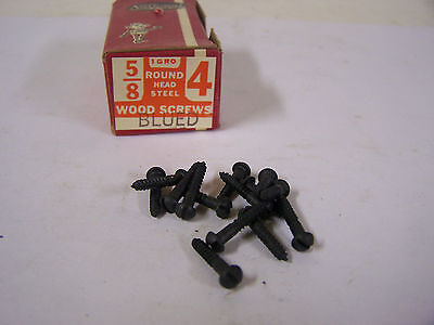 "#4 x 5/8"" Round Head Blued Wood Screws Slotted Vintage Made in USA Qty 144"