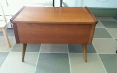 VINTAGE WOODEN 1960's SEWING BOX - TEAK? SLIDING COMPARTMENT INSIDE - SOLD EMPTY