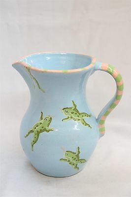 Vintage Patricia Dupont Leaping Flying Red Tongue Pottery Pitcher Portugal