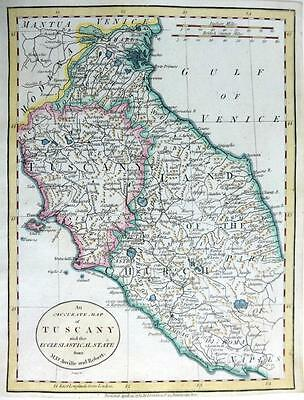ITALY TUSCANY ECCLESIASTICAL STATE ROME BY JOHN CARY GENUINE ANTIQUE MAP  c1784