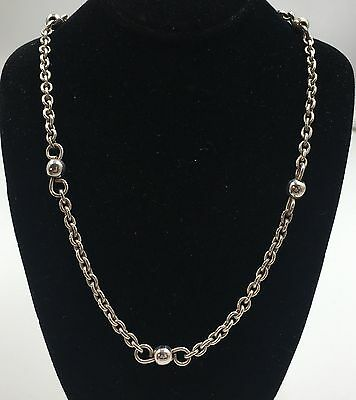 Sterling Silver 925 Bead Station Link Chain Toggle Necklace 16""