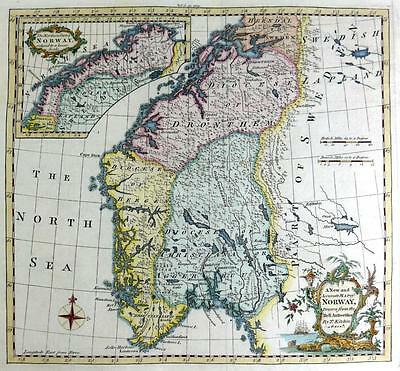 NORWAY  BY THOMAS KITCHIN  GENUINE ANTIQUE MAP WITH HAND COLOUR c1762