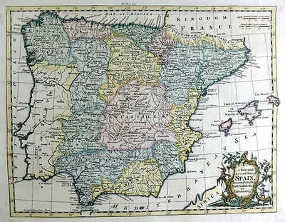 SPAIN  BY THOMAS KITCHIN  GENUINE ANTIQUE MAP WITH HAND COLOUR c1762