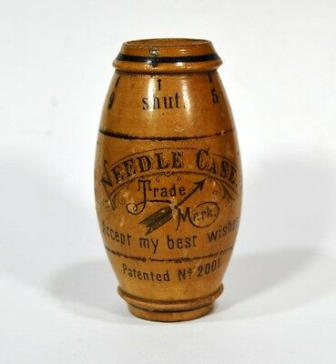 sewing needle case box mauchline treen Germany advertising antique 1800 original