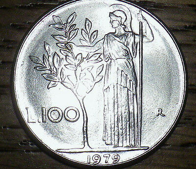 1979 Italy 100 Lire - LARGER HIGH QUALITY BU COIN - Very Nice LOOK