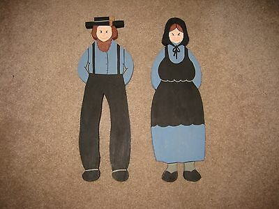 2 Hand Painted Amish Wooden Hanging Decoration Male & Female