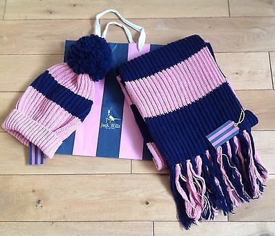 Jack Wills Hat and Scarf Set  Pink/Navy  New.