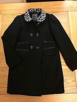 Girls Next Coat Age 8-9 9-10 Leopard Collar Black Winter Coat Vgc Fully Lined