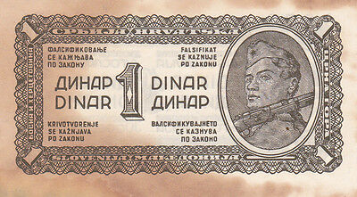 1 Denar From Yugoslavia 1944!vg- Fine Pick-48!partisan Resistance Issued Note!