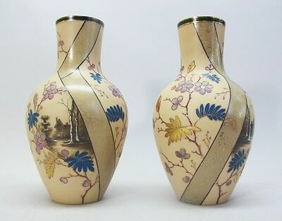 Fine Hand-Painted VICTORIAN AESTHETIC STYLE Art Glass Vases  c. 1880  antique
