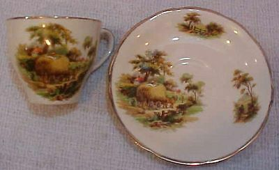 Alfred Meakin England Country Hay Wagon Old Pottery Tea Cup Saucer FREE S/H