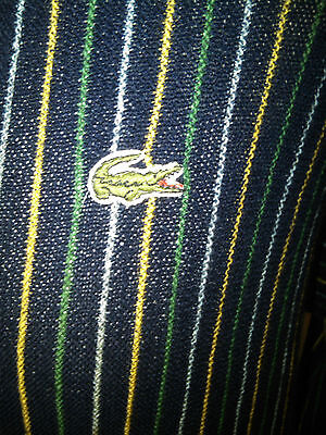 VTG LACOSTE  70's 80's CASUALS CARDIGAN STRIPED - ALL WOOL - LARGE  XL 42'' 44''