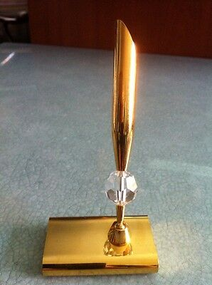 Gold Plated 24 Kt And Crystal Pen Holder