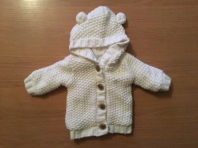 George White Chunky Knit Cardigan Tiny Baby To 6lb/2.7kg