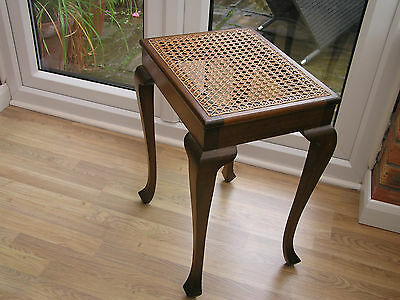 """VGC""  ELEGANT ANTIQUE DRESSING TABLE STOOL with Cabriole Legs and Caned Seat"