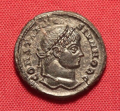 Ancient Roman Silvered Bronze Constantinus AE3 Coin, Camp Gate!