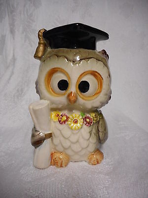 Vintage Lefton Ceramic Graduate Wise Owl Coin Bank Figurine