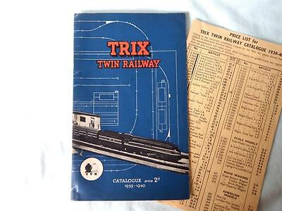 Original Trix Twin TTR Catalogue 1939-40 in Good Condition with Price List
