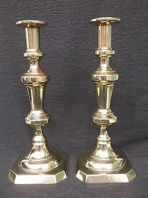 820 / Large Pair Of English Antique Mid 19Th Century Brass Candlesticks