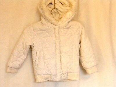 Girls 3-4 years White with Hearts embroidered Fur lined Hooded Zip Cuffed Jacket