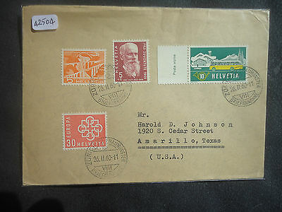 Switzerland 1960 Cover To USA (4v Stamps) Cover