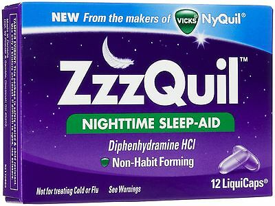 Vicks ZzzQuil Nighttime Sleep-Aid LiquiCaps, 12 Count, Non-Habit Forming