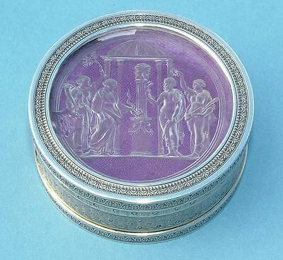 STUNNING 19th CENTURY FRENCH SILVER BOX INSET WITH CLASSICAL AMETHYST INTAGLIO