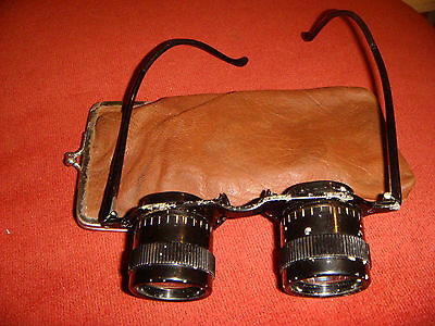 Vintage Unusual German Busch Binocular Spectacles Opera Glasses With Case 1930s