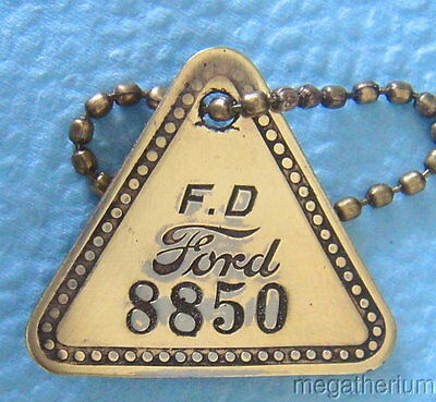 Vintage Tool Check Brass Tag: FORD DIV Historic Highland Park Factory; Key Chain