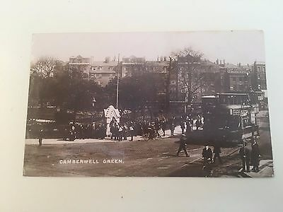 Antique Vintage Postcard Camberwell Green London Trams 1914