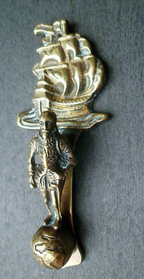 Vintage BRASS DOOR KNOCKER–WALTER RALEIGH, FRANCIS DRAKE-Unusual Novelty