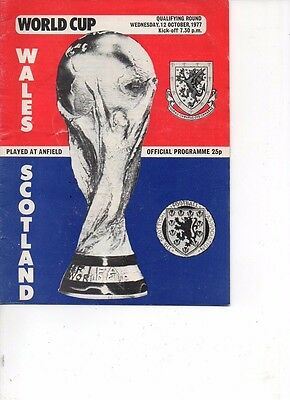 Wales v Scotland 1977 World Cup qualifier at Anfield