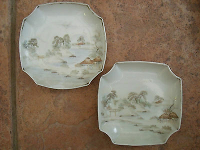 Japanese Dishes or Bowls with Waterside Scene signed.