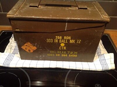 British Metal Ammunition Box 256 RDS 303 IN BALL MK 7Z Last Dated 31/12/1972
