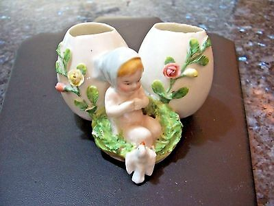 Antique German Piano Baby w 2 Eggs Porcelain Figurine