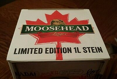 MOOSEHEAD LAGER Limited Edition 1L STEIN Glass (Oh Canada!) BEER mug BREWERY