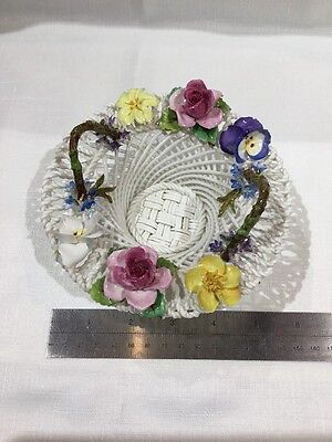 Antique Crown Staffordshire Porcelain Woven Basket with Flower Detail