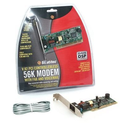 Stratitec IC56A V.90 & V.92 PCI Controllerless 56K Modem w/ Fax & Voicemail DSP