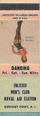 Girlie Matchbook Cover -EM Club -NAS -Quonset Point RI