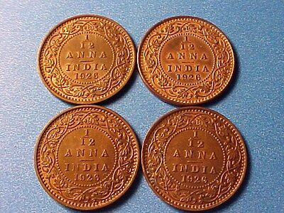 British India 1/12 Anna 1926 Group Of Four (4) Mostly Unc George V