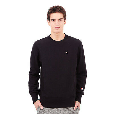 Champion - Basic Reverse Weave Terry Crewneck Sweater Black Pullover Rundhals