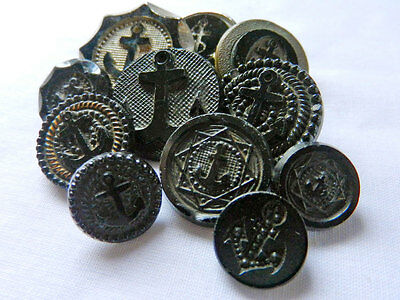 Variety Lot Antique Victorian Vintage Black Glass Anchor Buttons