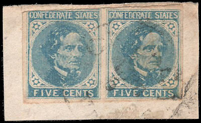 Confederate States of America #7 Used pair on piece