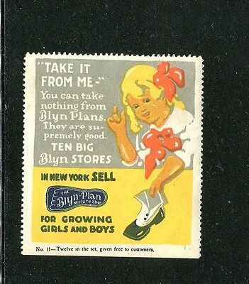 Vintage Poster Stamp Label BLYN-PLAN Childrens Shoes Take it from Me blonde girl