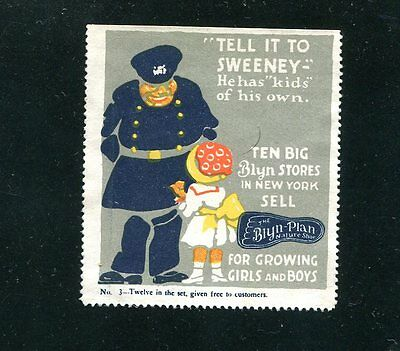 Vintage Poster Stamp Label BLYN-PLAN Childrens Shoes Tell itto Sweeney policeman